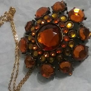 Amber Tone Embedded Crystals SUN Necklace